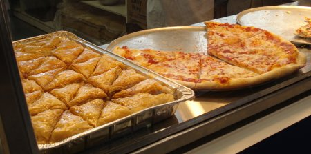 Pizza and baklava. Now there's a combination.