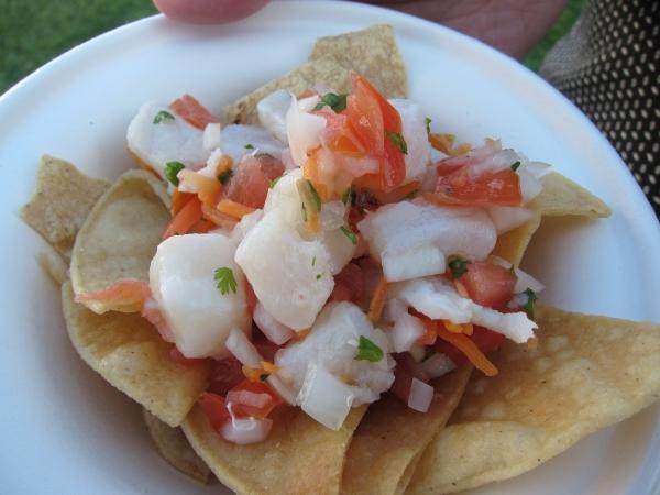 Beautifully fresh ceviche with cod, pico de gallo, serrano and lime from the El Caballito & Los Colibres stand.