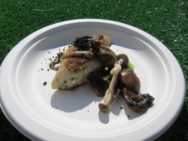 Rasa's truffle gnudi with local mushrooms, portobello soil, pickled shimenji and walnut pesto.