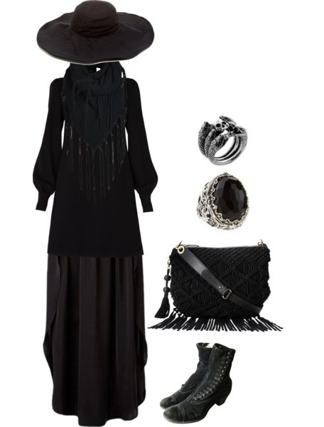 A strega-themed outfit from Polyvore via Pinterest.